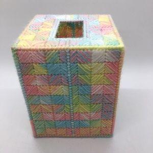 Pastel colored Kleenex box needlecrafted